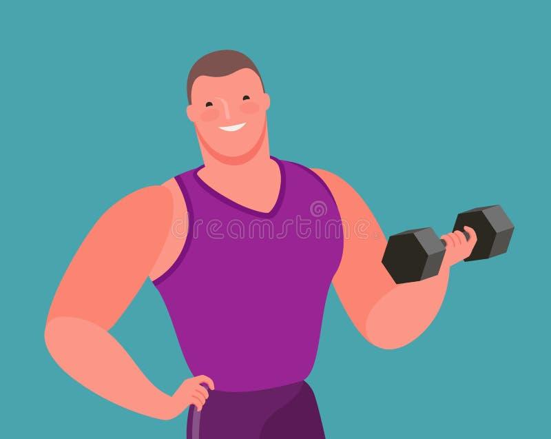 Le bodybuilder musculaire soulève l'haltère lourde Gymnase, illustration de vecteur de bande dessin?e illustration stock