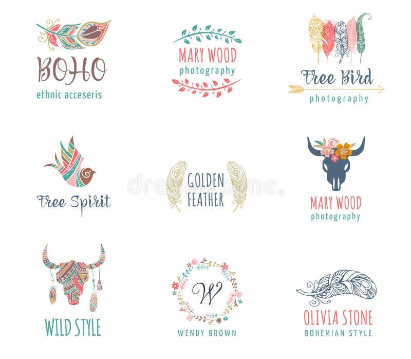 Le bohémien, tribal, icône ethnique a placé avec la plume, l'oiseau et la guirlande illustration de vecteur