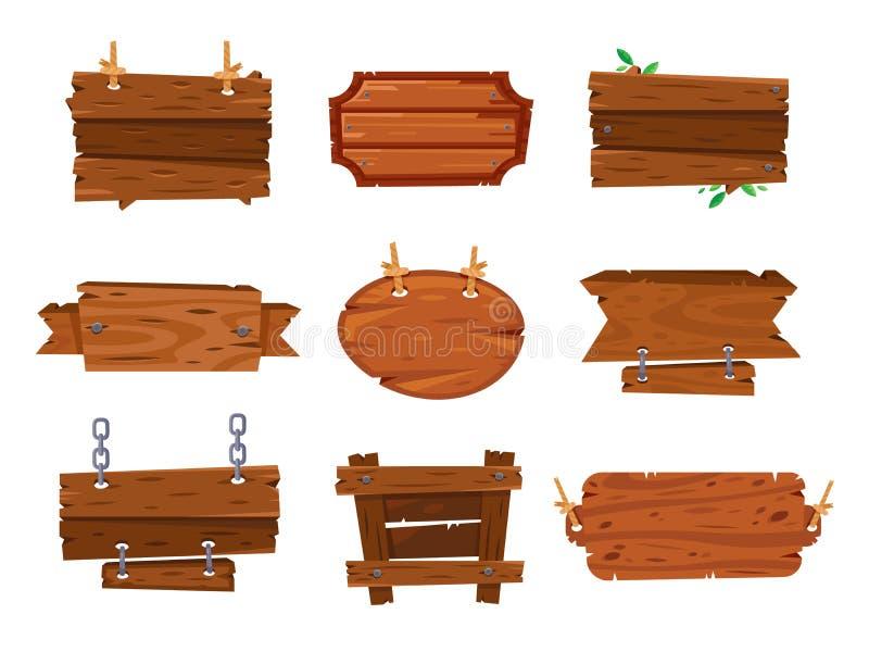 Le bois de bande dessinée embarque des signes et des bannières en bois de brun Boisez la planche de plat, cadres d'isolement par  illustration libre de droits