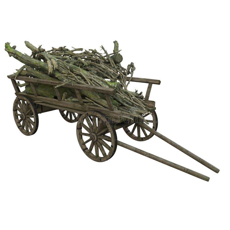 Le bois de chauffage, brindilles, broussaille s'est pli? dans un chariot en bois photographie stock