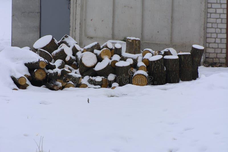 Le bois de chauffage est coupé près d'une maison de rapport privé photos libres de droits