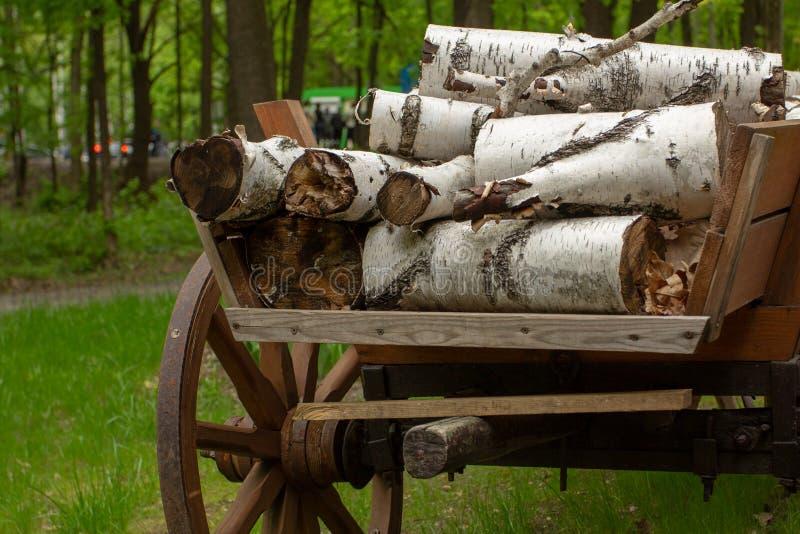 Le bois ouvre une session le chariot ? une ferme images libres de droits