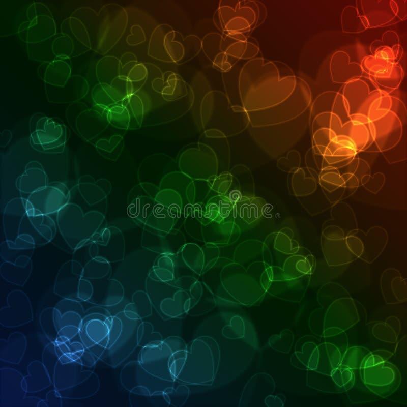 Le bokeh abstrait coloré de coeur entoure pour l'usage de fond illustration stock