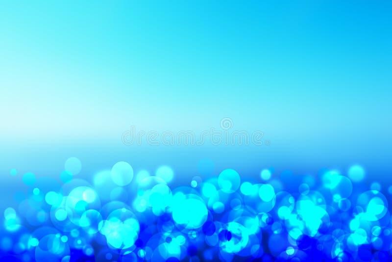 Le bokeh bleu abstrait d'allégement entoure des bulles d'unterwater images stock