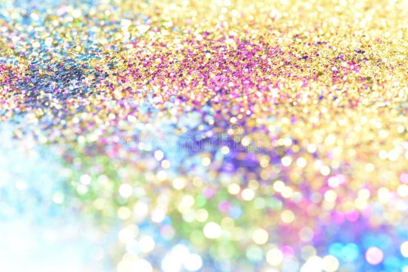 le bokeh Colorfull a brouillé le fond abstrait pour l'anniversaire, l'anniversaire, le mariage, la soirée du Nouveau an ou le Noë photographie stock