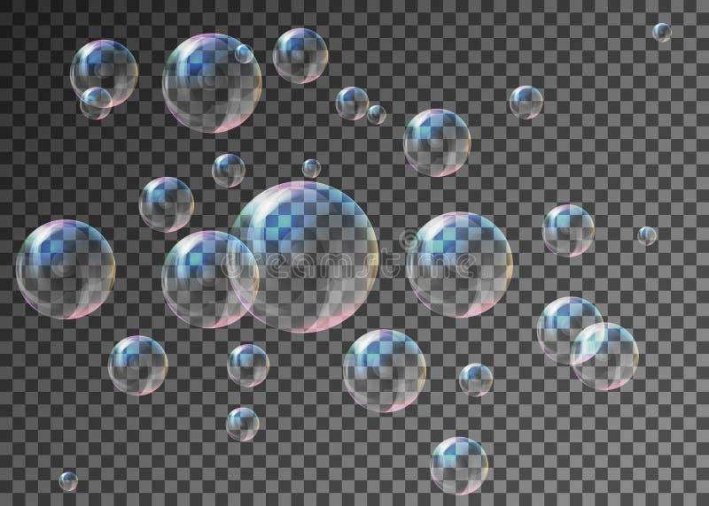 Le bolle di sapone trasparenti realistiche con la riflessione dell'arcobaleno hanno fissato la i immagine stock