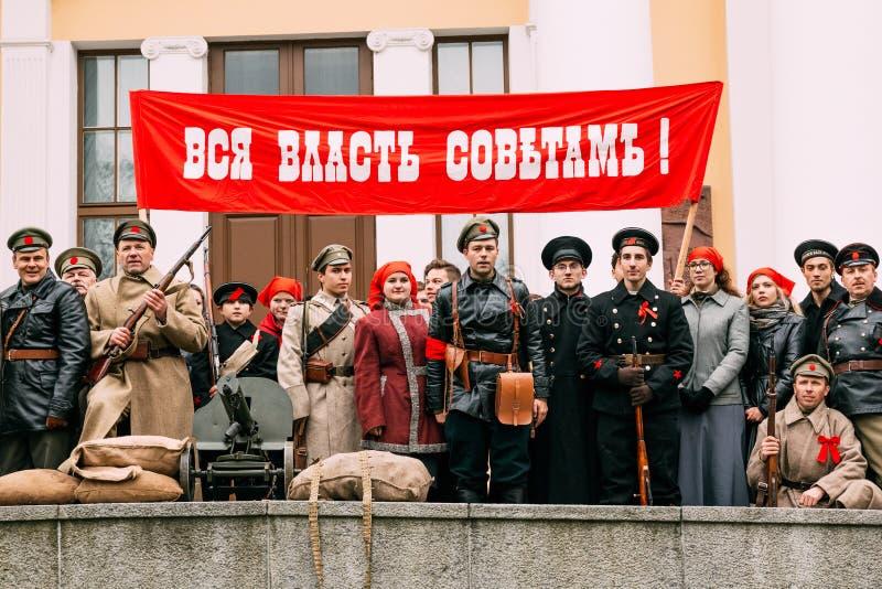 Le Bolsheviks avec une plaquette - toute la puissance aux satellites rec photos libres de droits