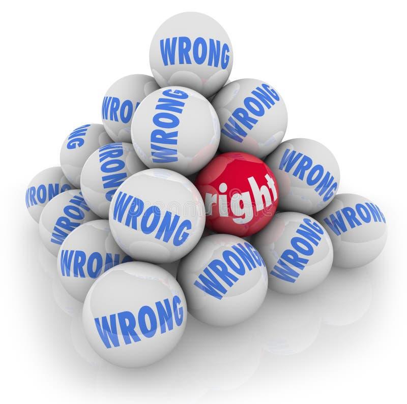 Le bon choix de boule parmi des solutions de rechange fausses sélectionnent la meilleure option illustration de vecteur