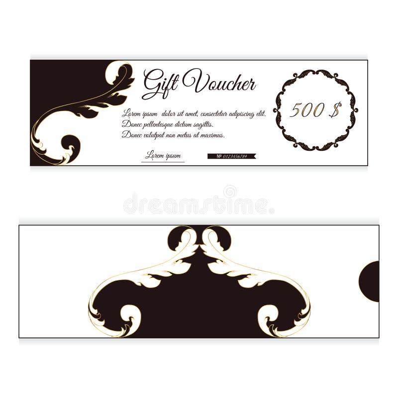 Le bon de cadeau élégant de remise est brun avec la couleur blanche Ornement feuillu dans le style victorien Pour des boutiques illustration stock