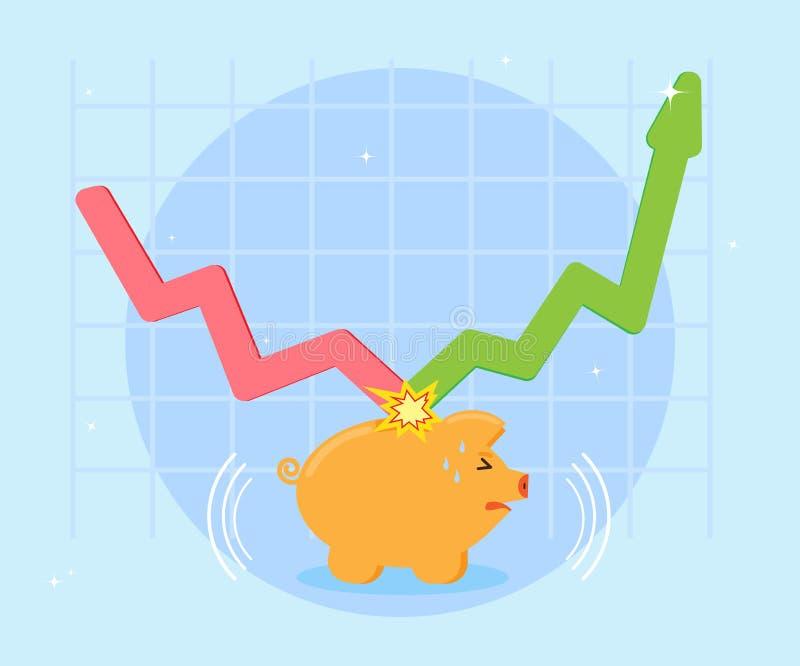 Le bon investissement a tenu l'abaissement dans la crise Concept d'affaires Situation risquée, la perte de l'épargne Style plat,  illustration stock