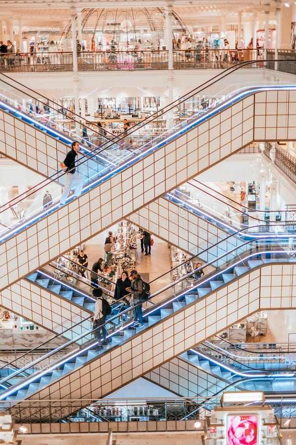 Le Bon Marche elevators. Paris, France - April 8, 2019: elevators at Le Bon Marche department store in Paris royalty free stock photo