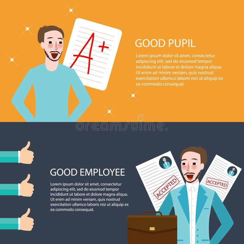 Le bon meilleur des employés d'élève obtiennent des pouces d'appréciation d'A vers le haut d'avenir lumineux illustration de vecteur