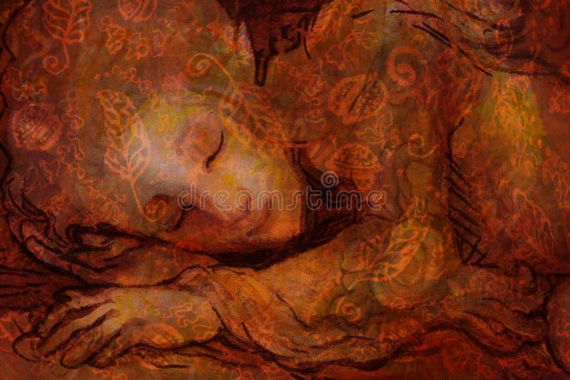 Le bonbon elven les rêves, le petit collage de sommeil de fée, peint à la main et d'ordinateur illustration libre de droits