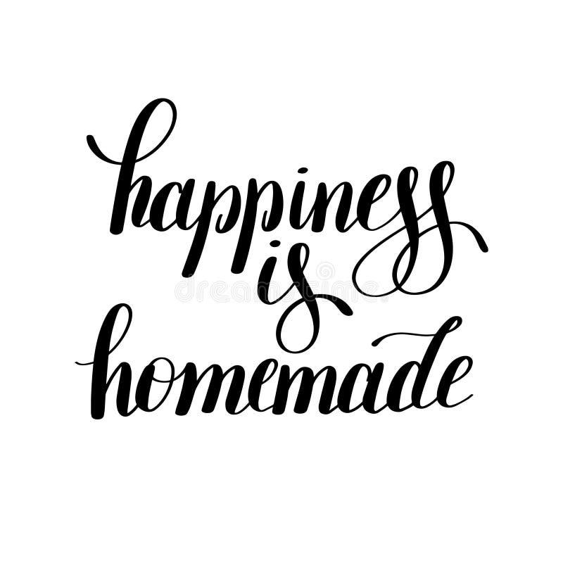 Le bonheur est citation inspirée positive manuscrite faite maison illustration de vecteur