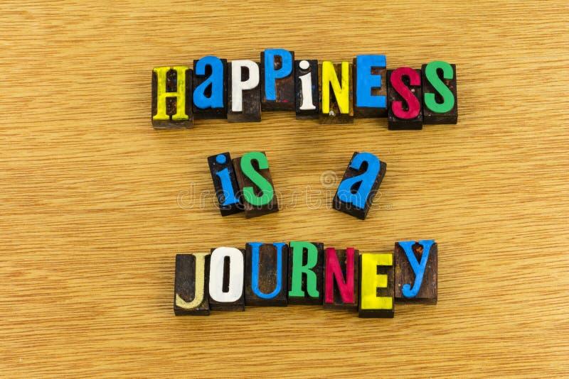 Le bonheur est impression typographique de voyage de voyage photographie stock