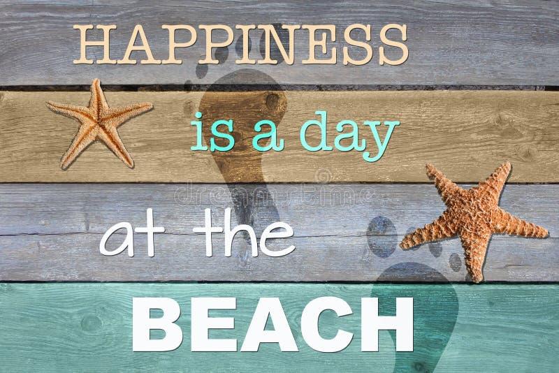 Le bonheur est un jour à la plage illustration stock