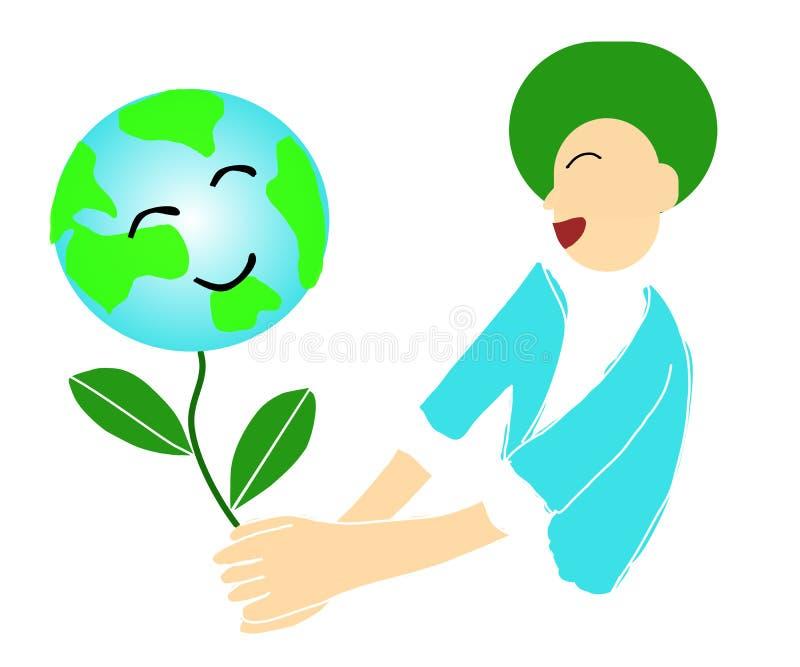 Le bonheur heureux d'amitié de jour du monde et de jour de terre de concepts d'environnement, de conservation de la terre, nature illustration libre de droits