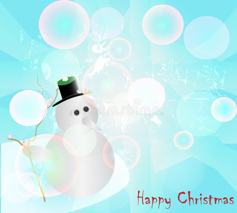 Le bonhomme de neige abstrait et les boules colorées bouillonne avec le bokeh et le texte sur le fond bleu illustration libre de droits