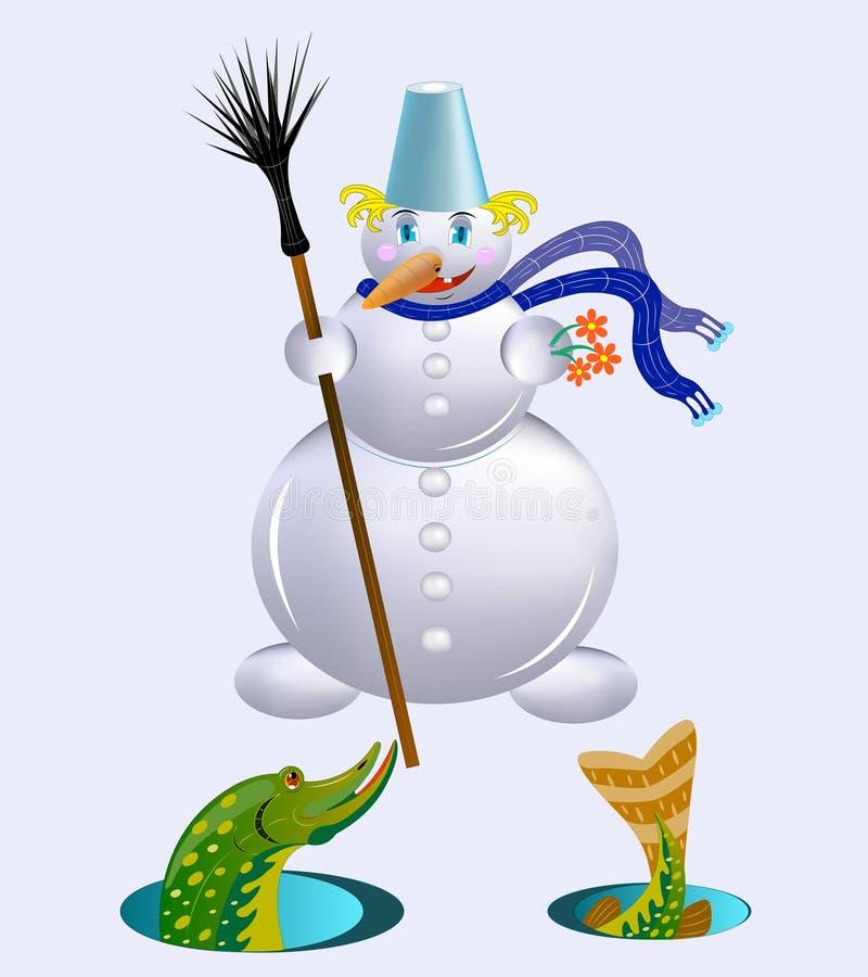 Le bonhomme de neige donne un cadeau. illustration libre de droits