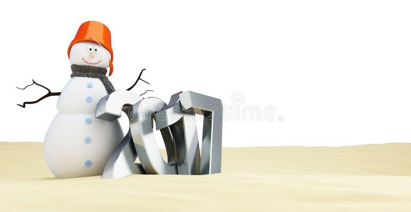 Le bonhomme de neige sur la plage, célèbrent la nouvelle année 2017, illustration de vecteur