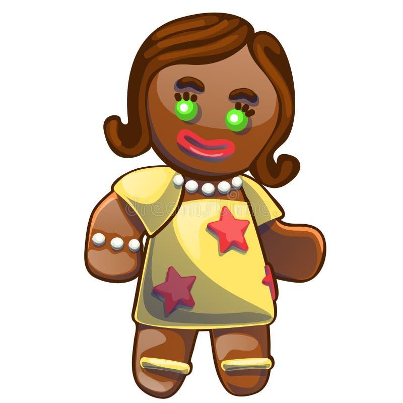 Le bonhomme en pain d'épice a décoré le glaçage coloré d'isolement sur le fond blanc Biscuit de vacances dans la forme de la fill illustration libre de droits