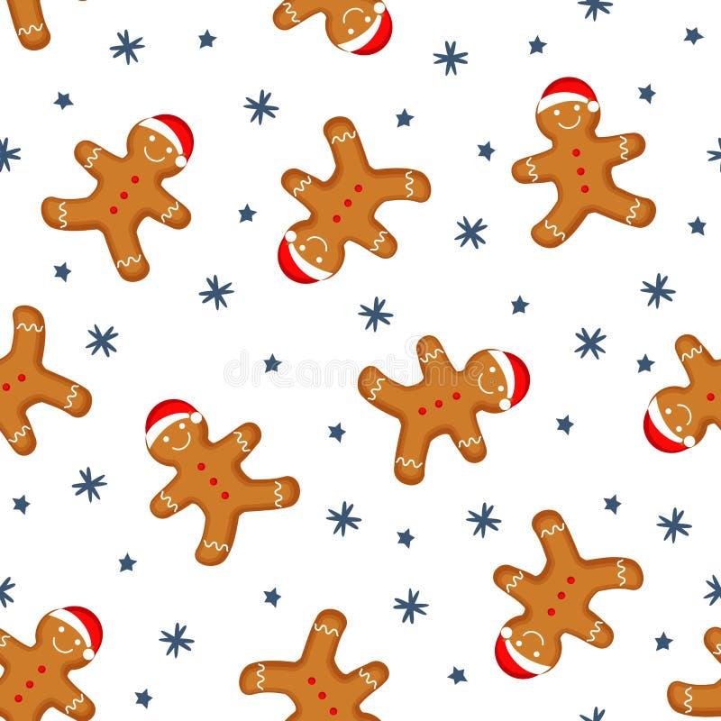 Le bonhomme en pain d'épice est décoré dans la texture sans couture de fond de chapeau de Noël illustration de vecteur