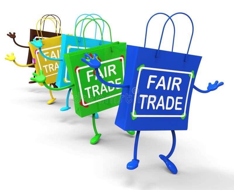 Le borse del commercio equo e solidale mostrano gli affari uguali e scambiano illustrazione vettoriale