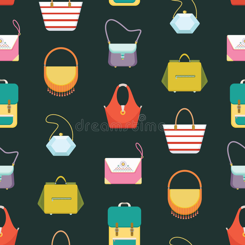 Le borse delle donne increspa il modello senza cuciture del fondo - illustrazione piana di vettore di stile illustrazione vettoriale