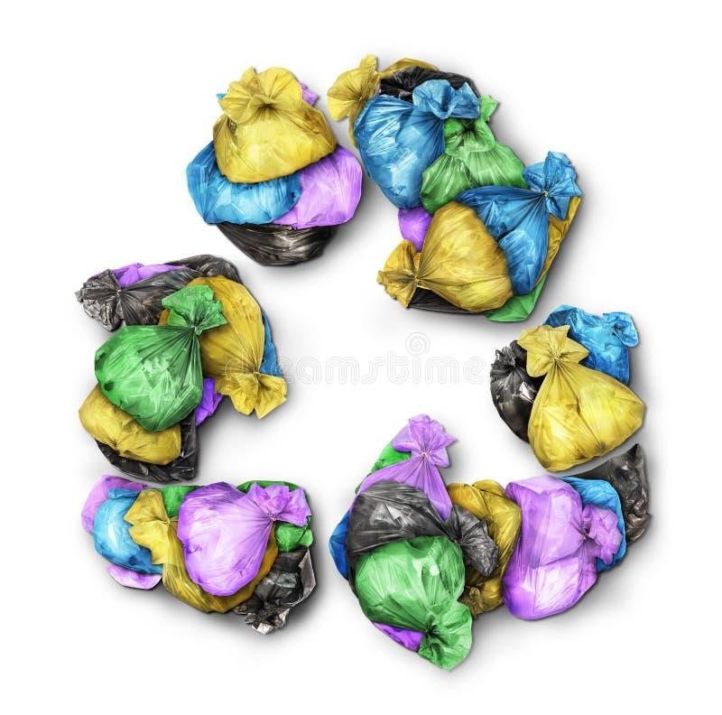 Le borse di immondizia formate dentro riciclano il segno fotografie stock