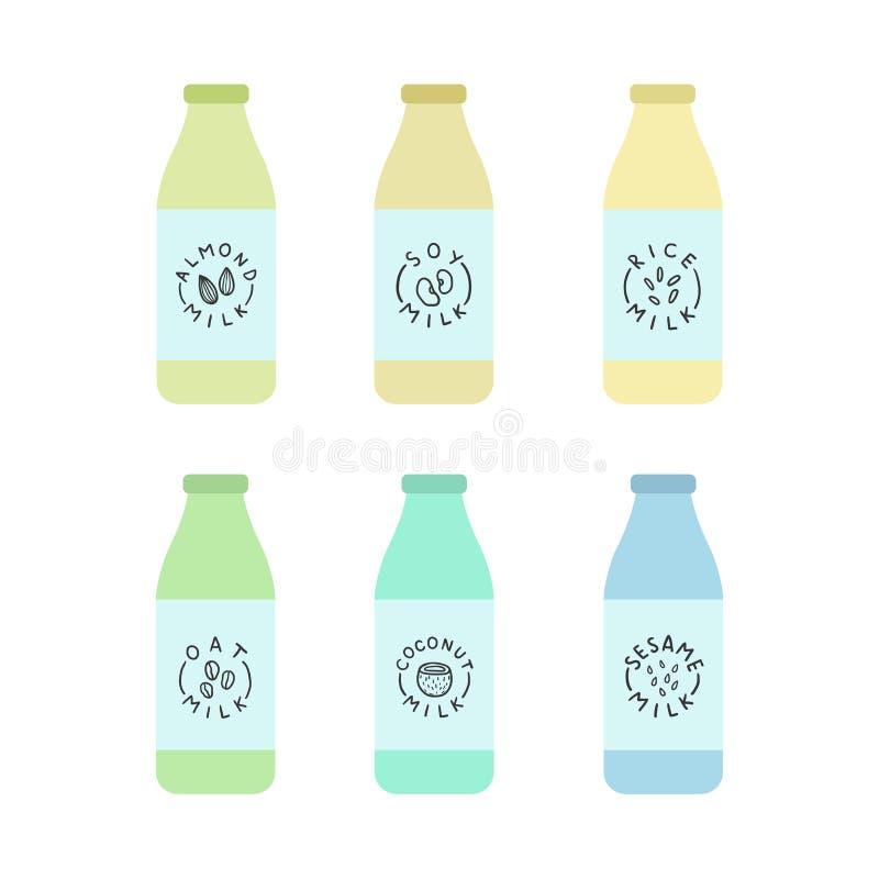 Le bottiglie con la pianta hanno basato il latte royalty illustrazione gratis