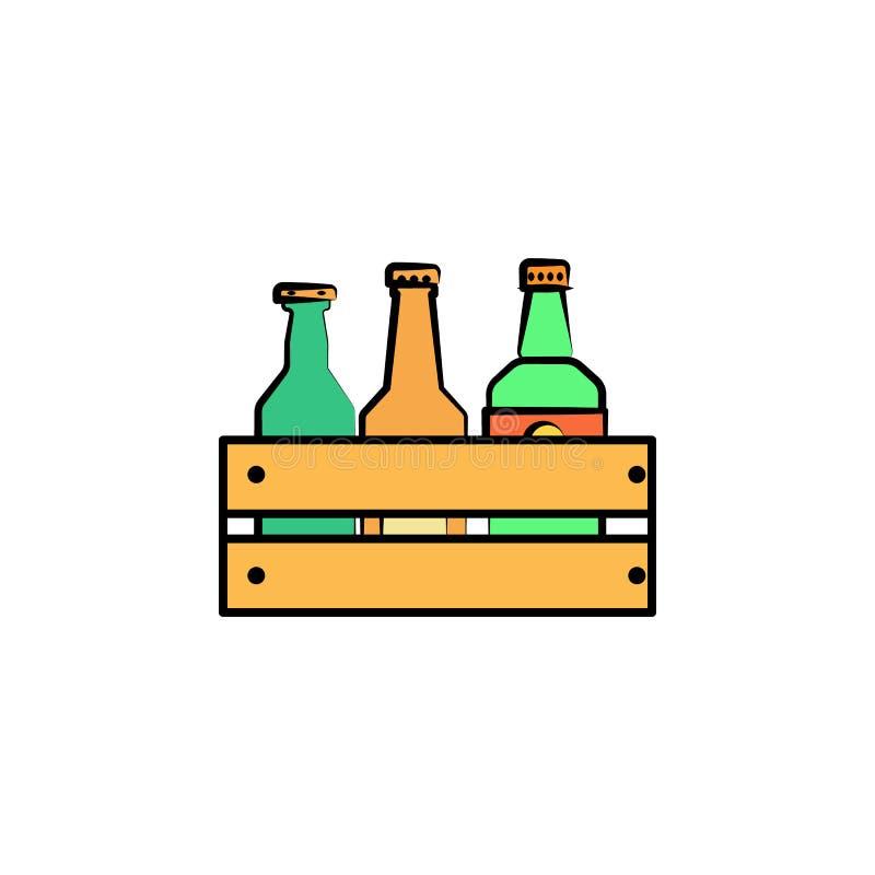 le bottiglie della birra in cassetto hanno colorato l'icona di stile di schizzo Elemento dell'icona della birra per i apps mobili royalty illustrazione gratis