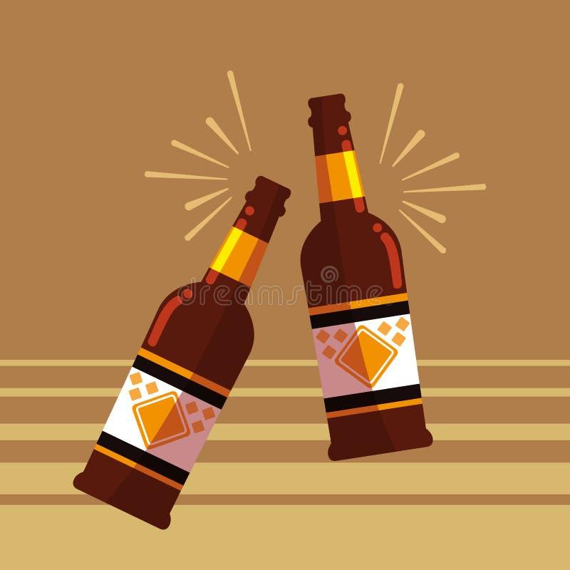 Le bottiglie delle birre tostano l'icona illustrazione di stock