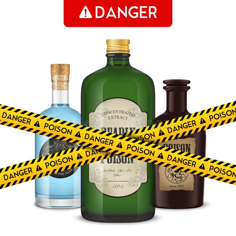 Le bottiglie pericolose avvelenano il manifesto illustrazione vettoriale