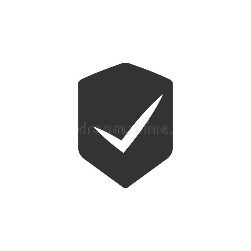 Le bouclier avec approuvent l'icône de signe Élément d'icône de sécurité d'Internet pour des applis mobiles de concept et de Web  illustration de vecteur