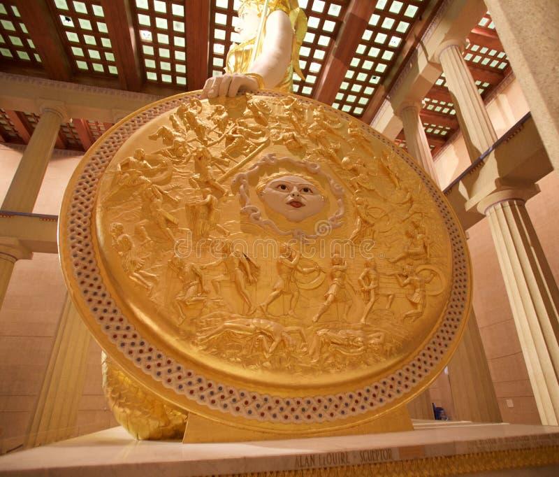 Le bouclier de la déesse Athéna dans le musée de parthenon, Nashville TN photographie stock libre de droits