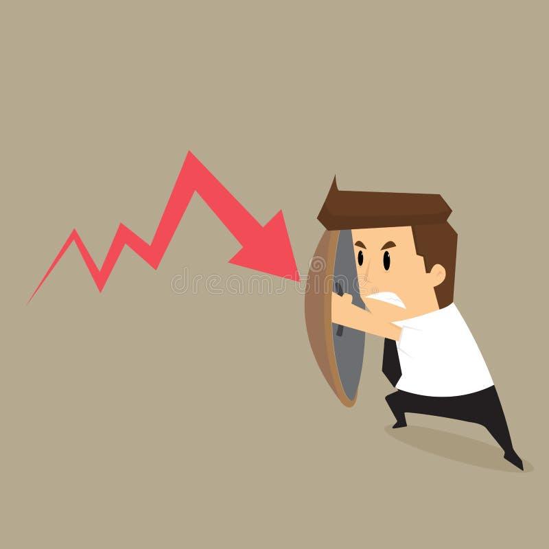 Le bouclier de prise d'homme d'affaires empêchent la chute de flèches illustration de vecteur