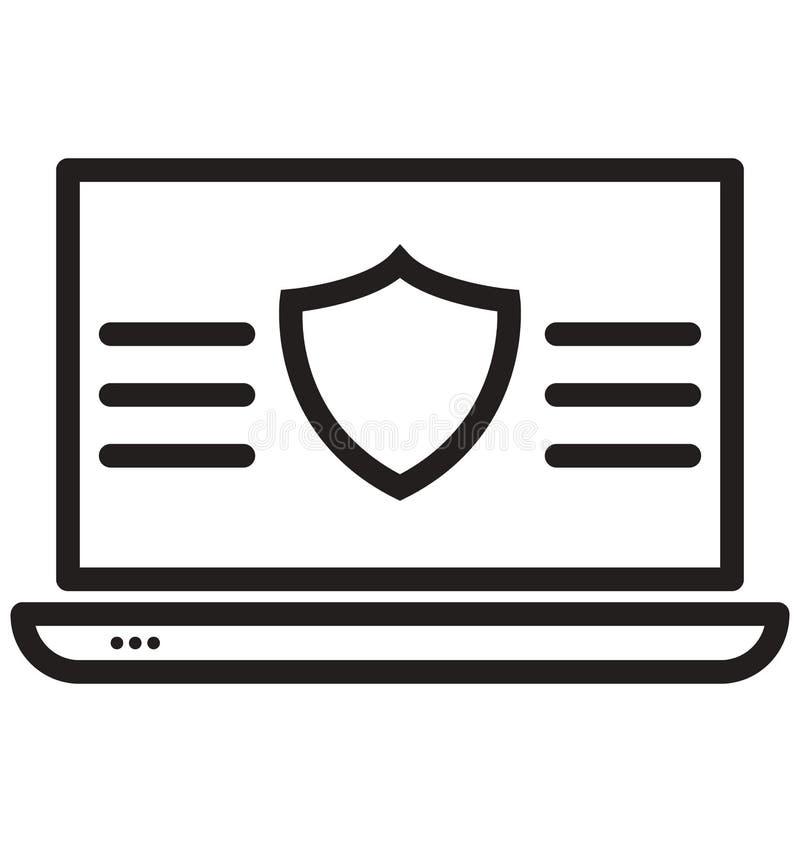 le bouclier de protection, ligne icône d'isolement d'antivirus peut être facilement modifié et édité illustration stock