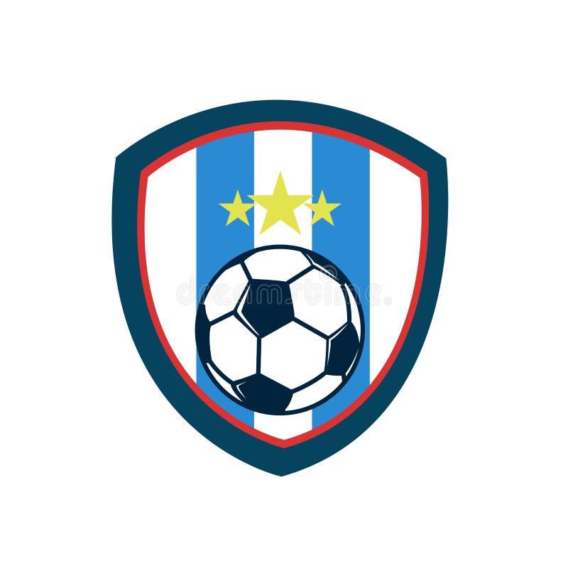 Le bouclier de vintage de fièvre du football barre l'emblème de club de Footbal illustration libre de droits