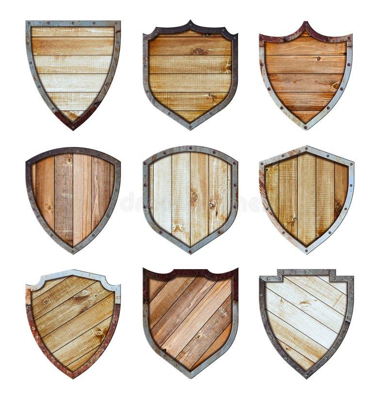 Le bouclier en bois et en métal a protégé les icônes en acier signent l'ensemble illustration stock
