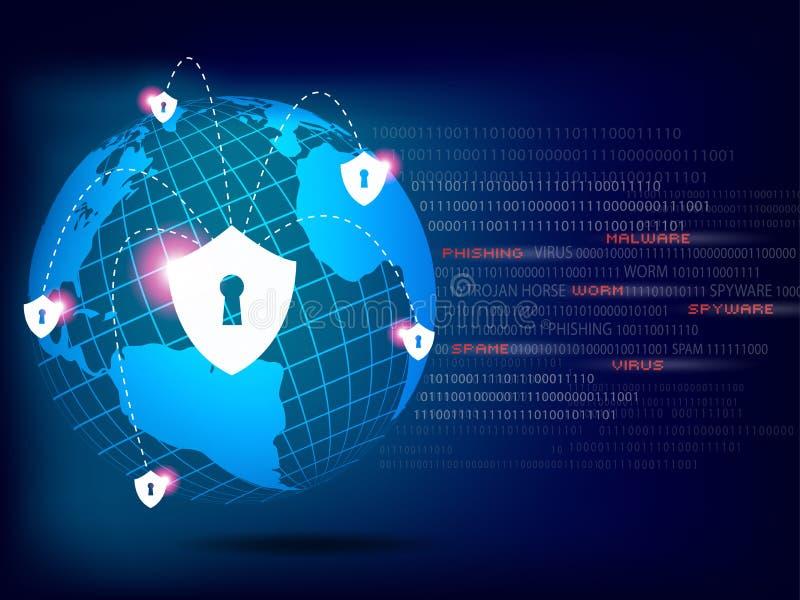 Le bouclier protègent le réseau global du monde sur le fond de blanc de code binaire illustration libre de droits