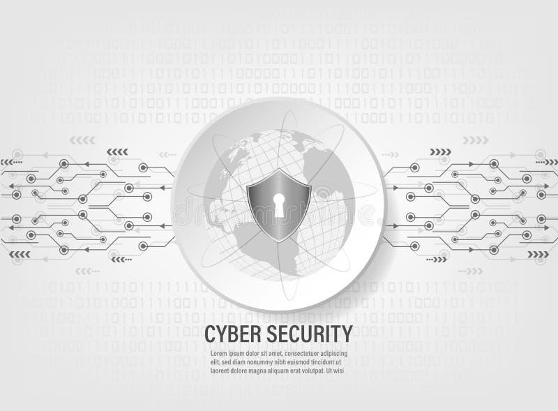 Le bouclier protègent le réseau global du monde sur le fond de code binaire illustration stock