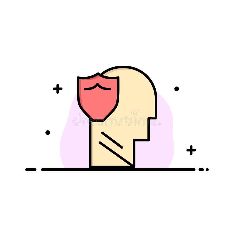 Le bouclier, sûr, masculin, utilisateur, ligne plate d'affaires de données a rempli calibre de bannière de vecteur d'icône illustration libre de droits
