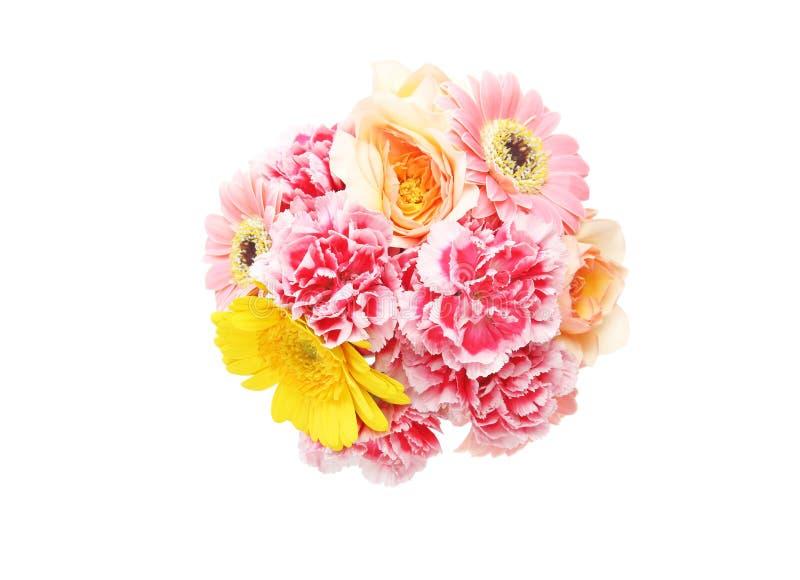Le bouquet de s'est levé, marguerite du Transvaal et oeillet à un arrière-plan blanc photographie stock libre de droits