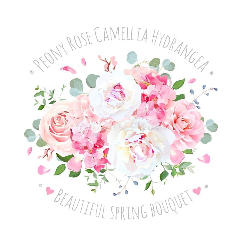Le bouquet de s'est levé, pivoine, camélia, hortensia, pilotant des pétales illustration de vecteur