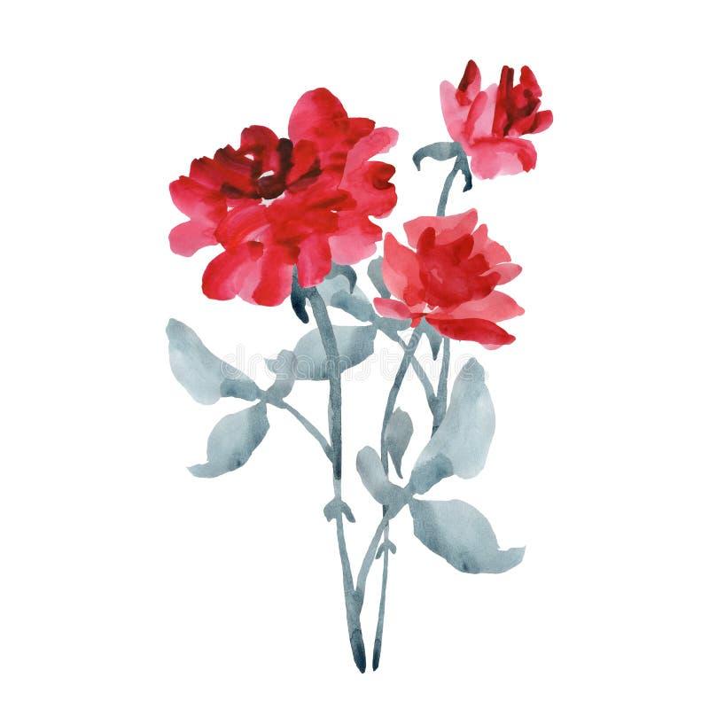 Le bouquet des roses rouges élégantes avec un gris part sur un fond blanc watercolor illustration de vecteur