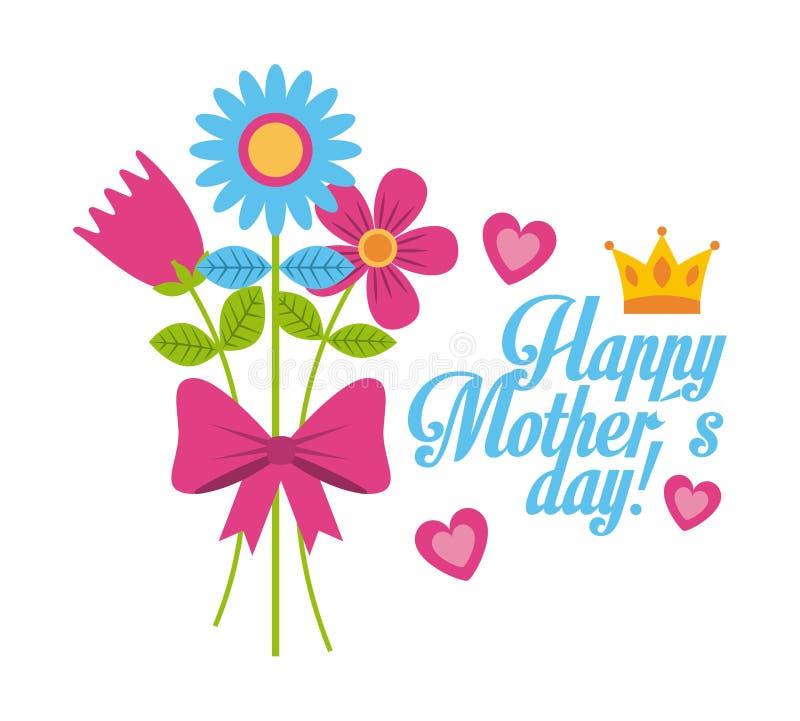 Le bouquet fleurit le jour de mères heureux de décoration naturelle d'arc illustration de vecteur
