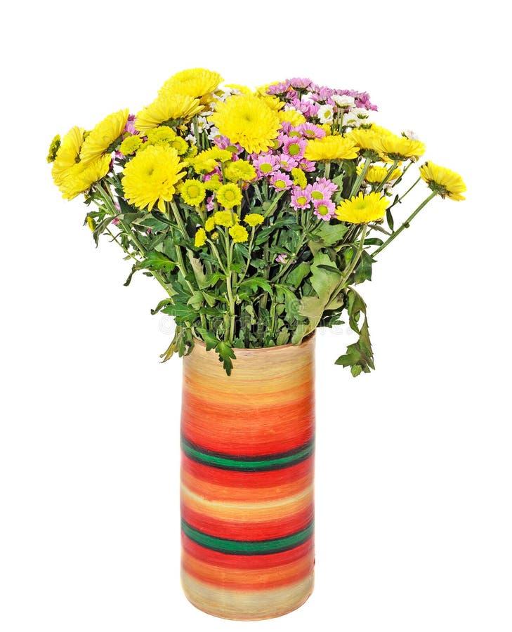 Le bouquet jaune, blanc et mauve de chrysanthèmes fleurit image stock