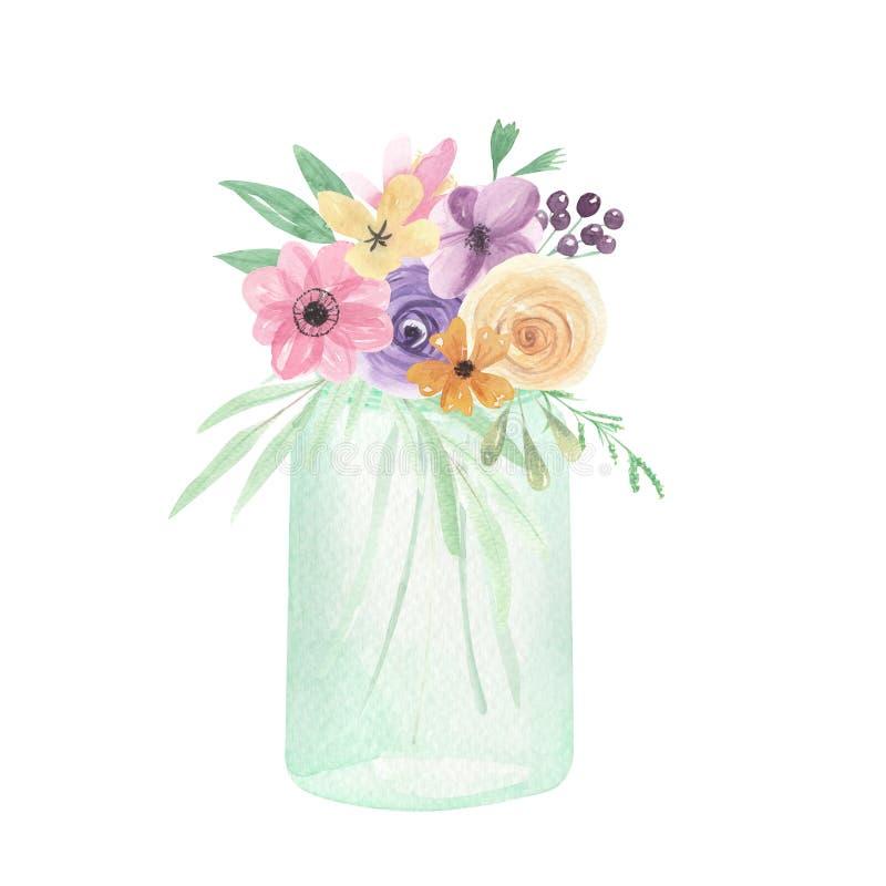 Le bouquet peint par baies florales de fleurs de pot d'aquarelle laisse des baies illustration stock