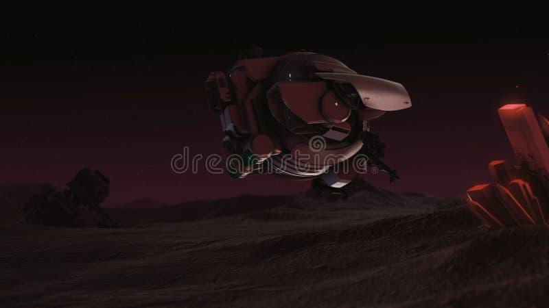 Le bourdon explore rougeoyer en cristal Ciel de nuit illustration de vecteur
