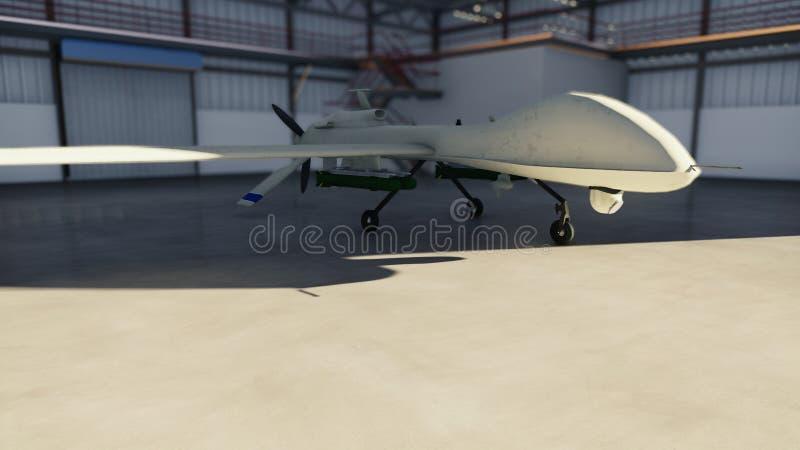 Le bourdon militaire se tient dans son hangar un jour ensoleillé rendu 3d illustration stock
